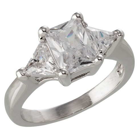 Silver Plated Emerald Cut Cubic Zirconia with Trillion Cut Side Stones Engagement Ring - Size 7 - image 1 of 1