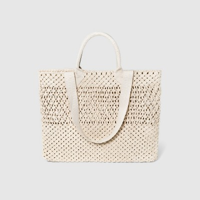 Circle Handle Crochet Tote Handbag - A New Day™