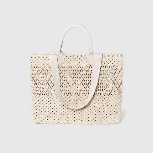 Circle Handle Crochet Tote Handbag - A New Day™  - image 1 of 3