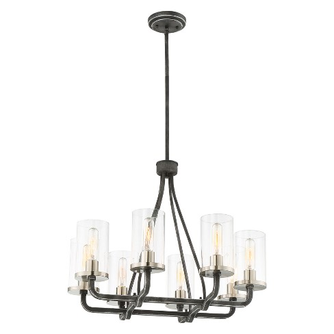 Ceiling Lights Chandelier Iron Black With Brushed Nickel Accents Aurora Lighting