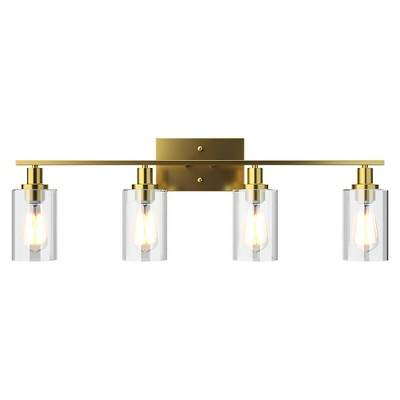 Costway 3-Light/4-Light Wall Sconce Modern Bathroom Vanity Light Fixtures with Clear Glass Shade