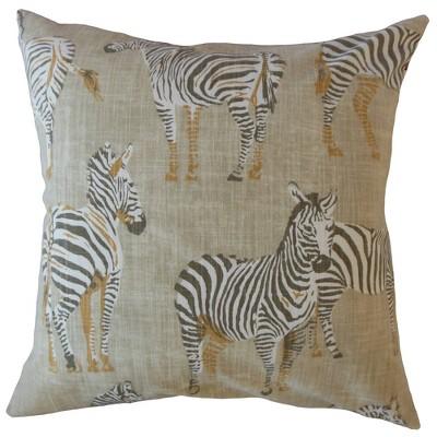 Zebra Print Square Throw Pillow Beige - Pillow Collection