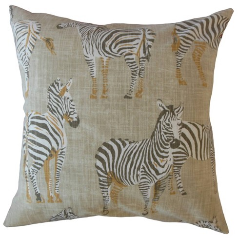 Zebra Print Square Throw Pillow Beige - Pillow Collection - image 1 of 2