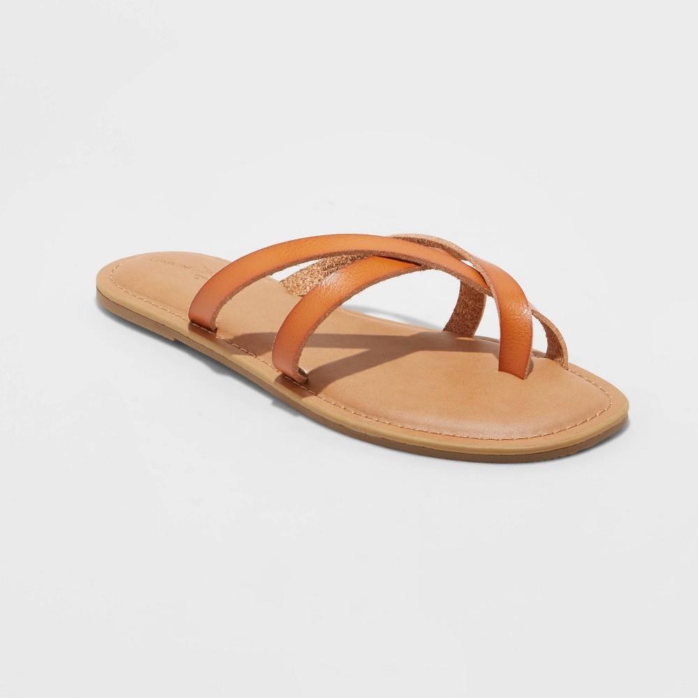 Women 39 S Colette Strappy Flip Flop Sandals Universal Thread 8482 Cognac 7