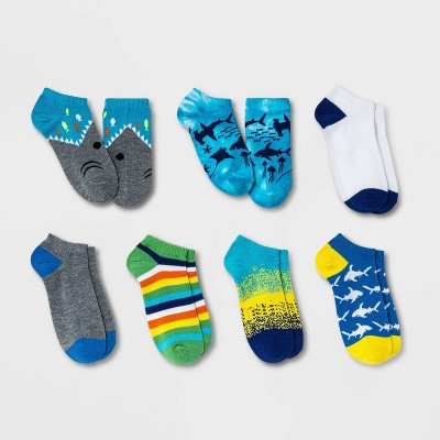 Boys' 7pk Shark No Show Socks - Cat & Jack™ Blue