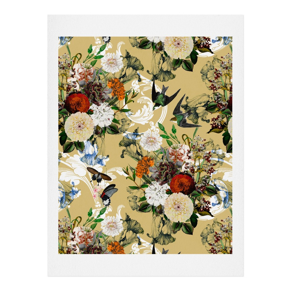 "Image of ""11""""x14"""" Marta Barragan Camarasa Baroque Flower Bouquet Art Print Unframed Wall Poster Buff Beige - Deny Designs"""