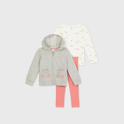 Toddler Girls' 3pc Owl Zip-Up Top and Leggings Set - Just One You® made by carter's Pink