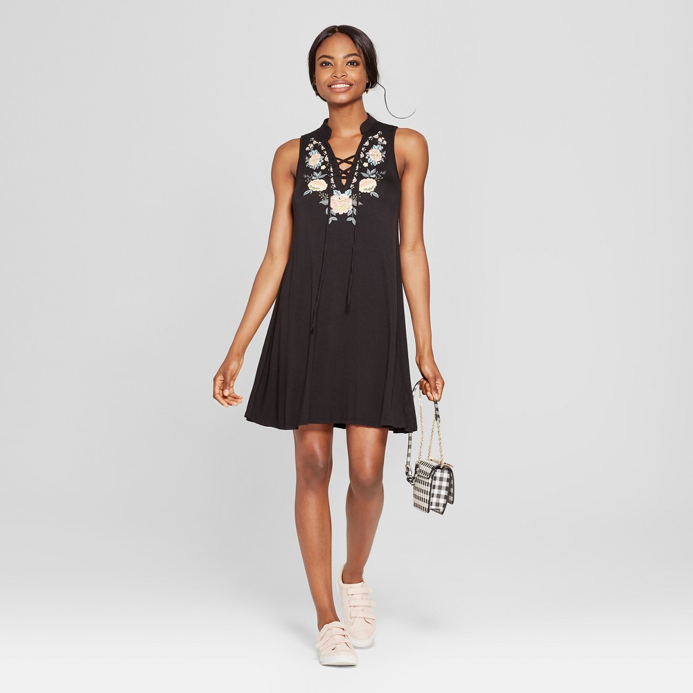 Women's Cross Front Puff Print Dress - 3Hearts (Juniors') Black S was $24.98 now $13.73 (45.0% off)