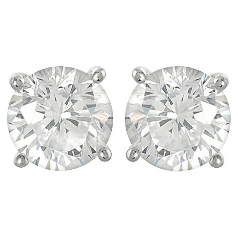 1/2 CT. T.W. Tressa Round Cut Cubic Zirconia Basket Set Stud Earrings in Sterling Silver - Silver - image 1 of 2