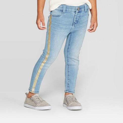 OshKosh B'gosh Toddler Girls' Side Stripe Jeans - Gold - image 1 of 3