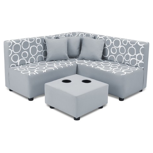 Miraculous Kids 7 Pc Sectional Set Freehand Storm Twill With Pebbles Gray And White Kangaroo Trading Co Machost Co Dining Chair Design Ideas Machostcouk
