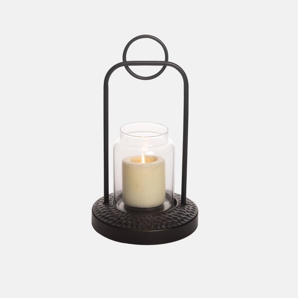 Image of 12 Modern Hammered Outdoor Lantern - Foreside Home & Garden, Black