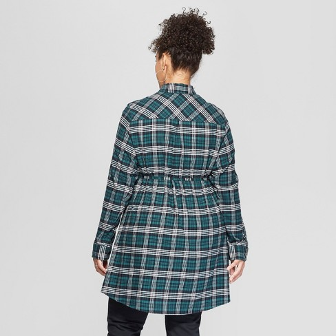 cd7a05aa4dc Maternity Long Sleeve Plus Size Plaid Flannel...   Target