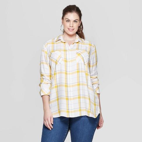 c9273323fa1758 Women s Plus Size Plaid Long Sleeve Collared Button-Down Shirt - Ava   Viv™  Yellow