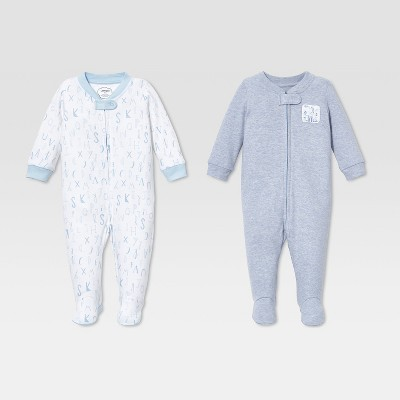 Lamaze Baby Boys' Organic Cotton 2pk Sleep 'N Play - Blue 6M
