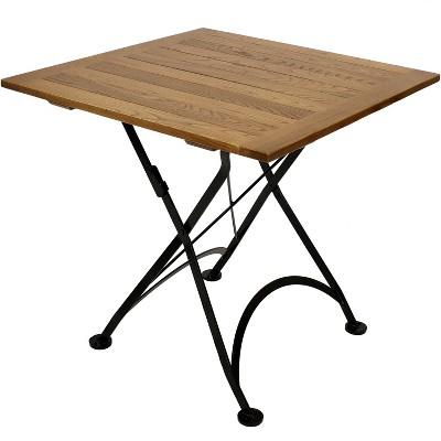 "Sunnydaze Indoor/Outdoor European Chestnut Wood Portable Folding Square Patio Bistro Table - 31"" - Brown"