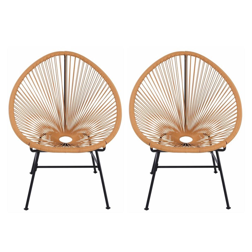 Image of 2pk Oval Metal Outdoor Lounge Chair Orange - Nuu Garden