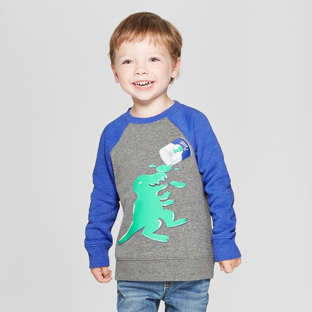 Toddler Boys' Dino Shaped Out of Paint Can Spill Fleece Crew Sweatshirt - Cat & Jack Gray 12M
