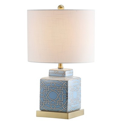 "22"" Ceramic/Metal Catherine Ginger Jar Table Lamp (Includes LED Light Bulb) Blue - JONATHAN Y"
