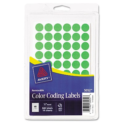 """Avery Handwrite Only Removable Round Color-Coding Labels 1/2"""" dia Neon Green 840/PK 05052"""