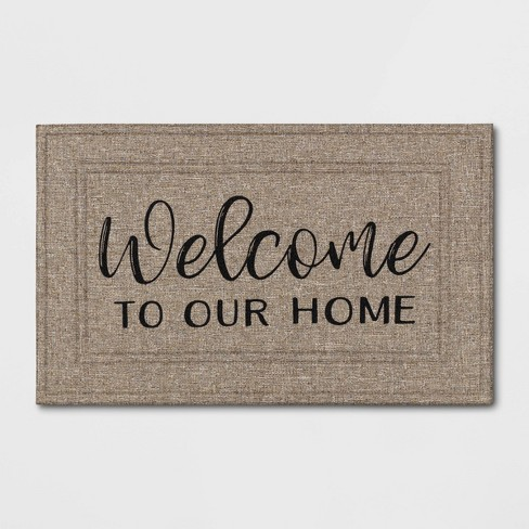 """1'6""""x2'6"""" """"Welcome to Our Home"""" Mat Tan - Apache Mills - image 1 of 3"""