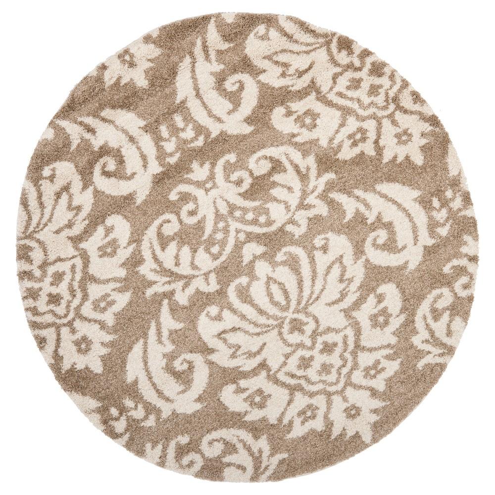 Beige/Cream Abstract Loomed Round Accent Rug - (4' Round) - Safavieh, Beige/Ivory