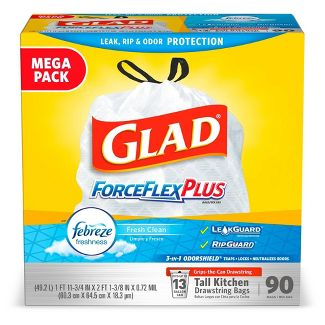 Glad ForceFlexPlus Febreze Fresh Clean Scented Tall Kitchen Drawstring Trash Bags - 90ct