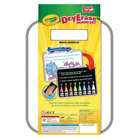 crayola dual sided dry erase board set with dry erase crayons 8ct