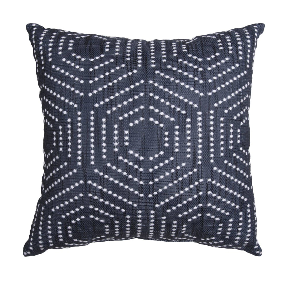 18 34 X18 34 Dorris French Knot Embroidered Faux Linen Square Throw Pillow With Dtm Back Black White D 233 Cor Therapy
