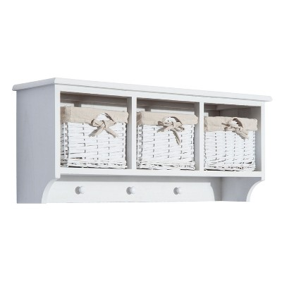 "HomCom 32"" Rustic Floating Shelf with Coat Hooks And Baskets - Antique White"