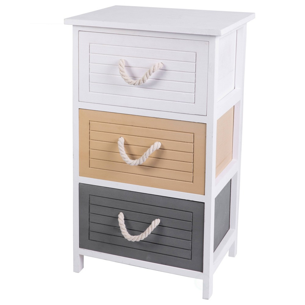 3 Drawer Storage Chest Nightstand with Rope Handles White - Uniquewise
