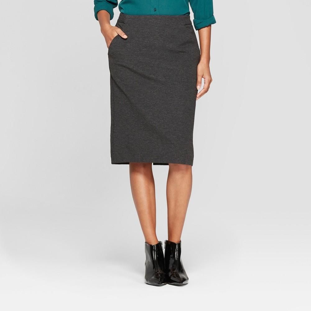 Women's Ponte Pencil Skirt - A New Day Dark Gray 8