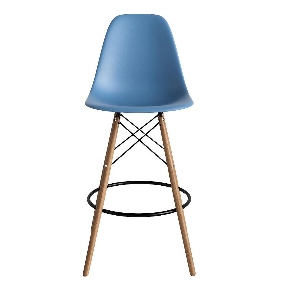 Paris Mid Century Modern Classic Counter Stool (Set of 2) - Blue - Aeon