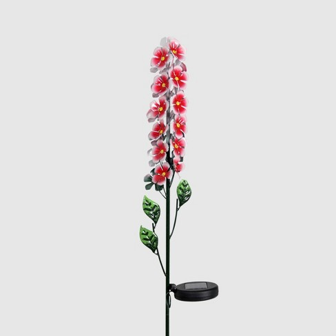 "42"" Solar Metal Flower Stalk Garden Stake Red - Exhart - image 1 of 2"