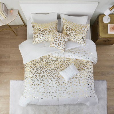 Kendra Metallic Printed Comforter Set Ivory/Gold