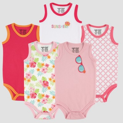 Luvable Friends Baby Girls' 5pk Sleeveless Bodysuits, Sunglasses - Pink 0-3M