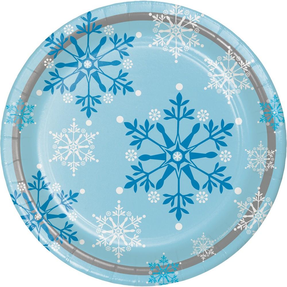 Snowflake Swirls Paper Plates Blue