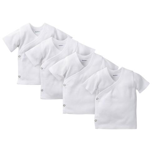 Gerber® Baby 4pk Short Sleeve Side Snap Shirts - White 0-3 M - image 1 of 1