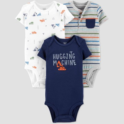 Baby Boys' 3pk Stripe Bodysuit - Just One You® made by carter's Navy/Gray/White 9M