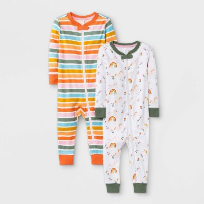 Baby Girls' 2pk Unicorn Snug Fit Pajama Romper - Cat & Jack™ White