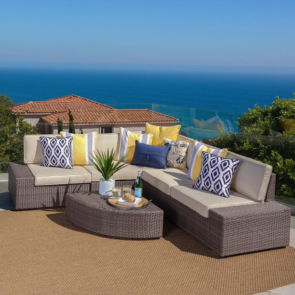 Santa Cruz 6pc Wicker Patio Sofa Set - Hazelnut Brown - Christopher Knight Home