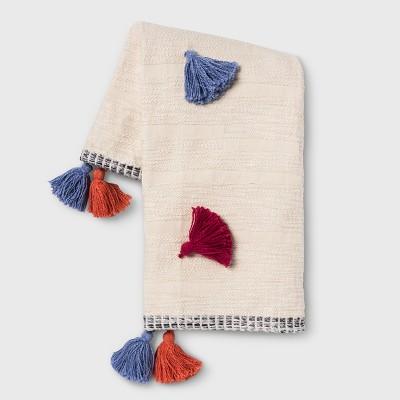 Multi Tassel Throw Blanket Cream - Opalhouse™