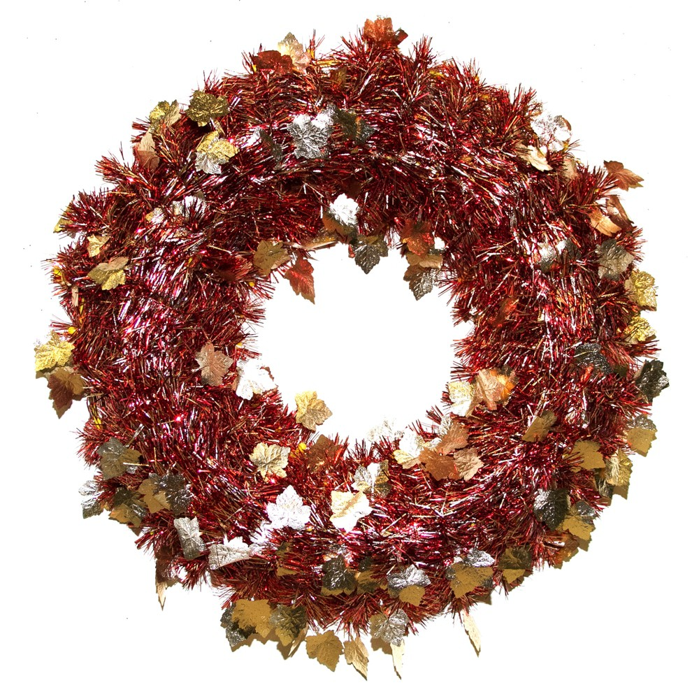 Image of Red/Gold Tinsel Wreath Autumn Leaves