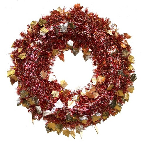 Red/Gold Tinsel Wreath Autumn Leaves - image 1 of 1