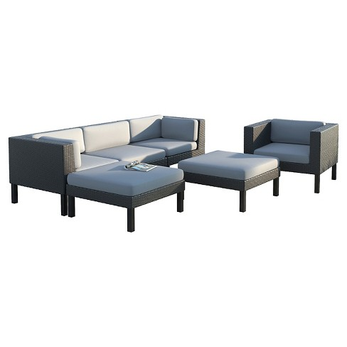 Corliving Oakland 6 Piece Sofa With Chaise Lounge And Chair Patio Set Textured Black Weave Dove Gray