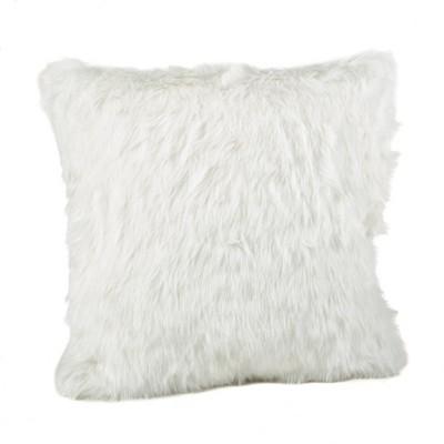 """20""""x20"""" Down Filled Faux Fur Throw Pillow White - Saro Lifestyle"""
