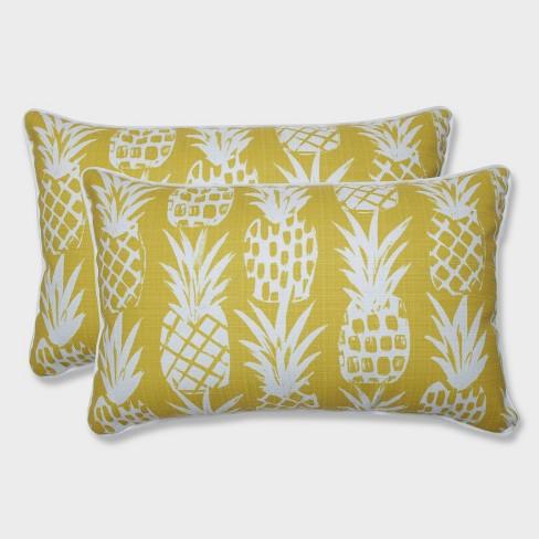2pk Pineapple Rectangular Throw Pillows Yellow - Pillow Perfect - image 1 of 2