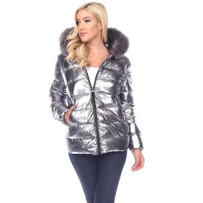 Women's Metallic Puffer Coat with Hoodie - White Mark