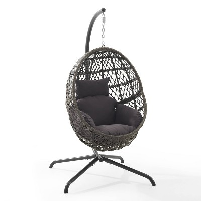 Tess Indoor/Outdoor Wicker Hanging Egg Chair & Stand - Gray - Crosley