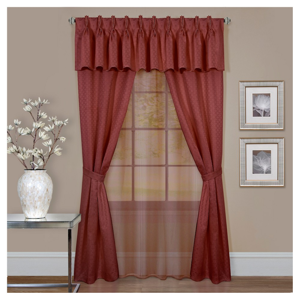 Claire 6pc Window Valence & Curtain Set Burgundy 55